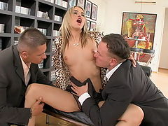 Blonde babe Aleksa fucked by 2 at the same time
