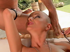 Hot bold girl fucked in a double penetration scene