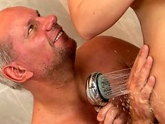 Busty brunette babe Chanel fucking with a old guy