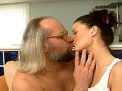 Hairy grandpa having sex with a hot schoolgirl