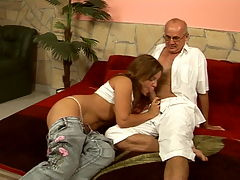 Kinky brunette Salome fucking with old grandpa