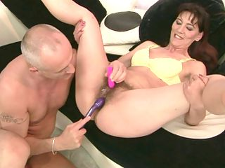 Hairy granny Gina Red in a toying fucking action