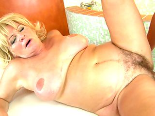 Hairy busty blonde mom suck cock n fucked in sauna