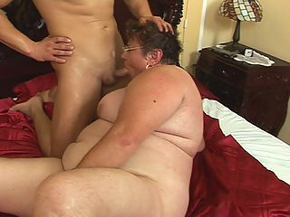 Big fat grandma fucking with crazy young guy