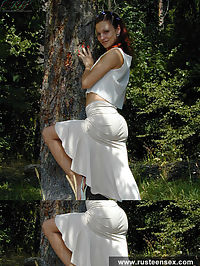 Russian nymphet showing what is hiding under her white dress
