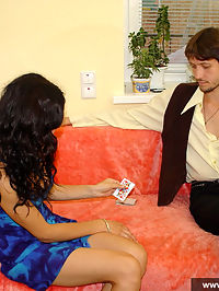 Teen couple playing strip poker and playing oral games