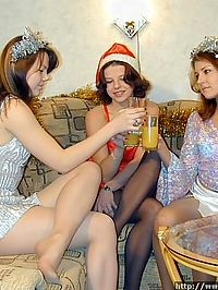 Three young lesbians in wild New Years party in nylon