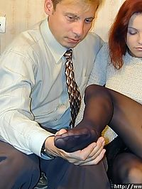 Boss licks his secretarys feet and oozing pussy through nylon