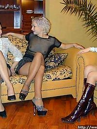 Brunette, redhead and blonde ladies - all in nylon pantyhose