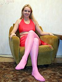 Pretty blonde girl wears magenta pantyhose