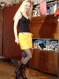 Girl wears black and white stockings together