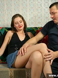 Licking pantyhosed feet and fucking girl