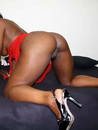Ebony stripper fucked hard in bed creampied pussy