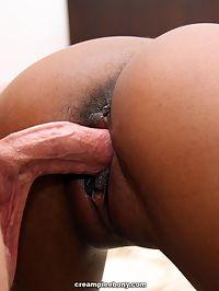 Hot ebony girl fucked by big cock then creampied