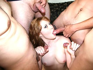 Slut gangbang gives head hardcore and fucked