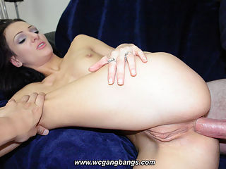 Hot slut gangbanged by guys in sofa
