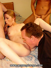 Teen slut banged hard on this gangbang