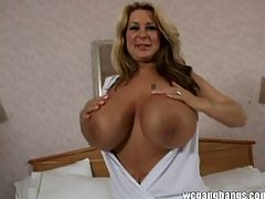 Slut mom with big boobs fucked hard by men in bed