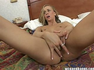 Slut fucked hard gangbang in bed facialized