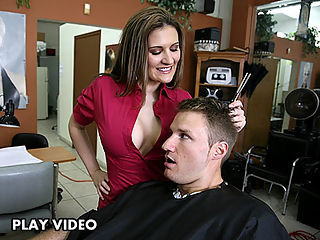 This dude was more than pleased with the treatment that she gave him, she cut his hair an as a bonus he also got to fuck the shit out of her, did i mentioned that she swallowed his jizz?