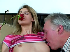 Teen fuck old dude : Teen girl bouncing on an old mans cock and licking his cum off her fingers