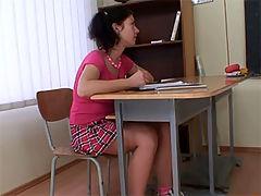 Cute teen fucks old : Cute brunette schoolgirl fucks her professor