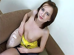 Teen girl masturbation : Teen girl strokes and pokes her wet pussy