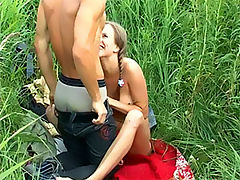 Hot teen sex : Teen couple have sex outside in a field