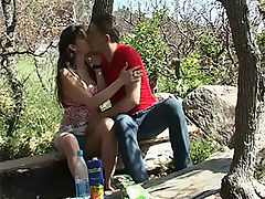 Sweet teen sex : Guy and girl have sex outside