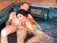 Monica : Teenage brunette gets fucked in her tight virgin asshole