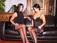 Birte and Maria : Two horny brunette girls paying of their lingerie debts