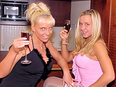 Nancy and Michaela : Horny guy stretching a dirty blonde slut her tight asshole