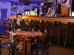 Cindy Dollar : Sexy bar maid gets a hard stiff tip from a paying customer