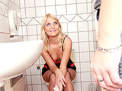 Goldie : Horny sexy blonde teenage chick banged hard on the toilet