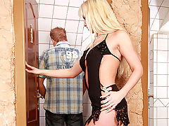 Cindy Dollar : Cute and horny blonde fucked anally in the toilet by a guy