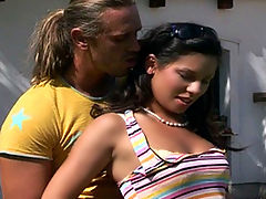 Tori aka Vanessa Smoke : Brunette teen cutie gets anally pounded in the backyard