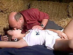Dorothea and Leon : Dirty senior banging a brunette beauty in a dark stable
