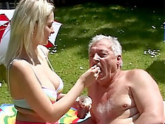 Leonie and Bruce : Stunning blonde beauty fucked by a senior citizen outdoor