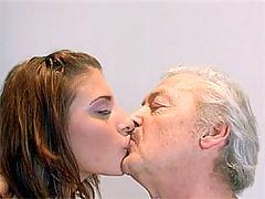Rachel Honey and Bruce : Sweet brunette beauty swallows a load of thick senior semen
