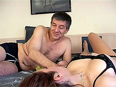 Kitty Salieri and Peter : Brunette beauty gets throat fucked by an old horny senior