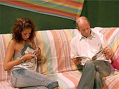 Sarah and David : Brunette teenage beauty swallows a senior his semen load