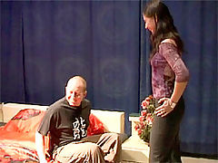 Sheridan and Jerry : Old bald senior stuffing a stunning teenage beauty wild