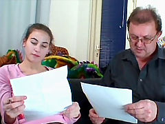 Veronika S. aka Jenna and Tim : Old fart punishes a teen for making errors at home work