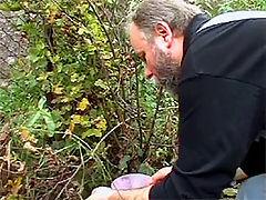 Jolanda and Bert : Horny brunette takes a homework break with an old gardener