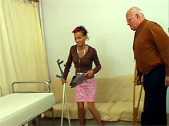 Gallery th 16306 t : Willing crippled teen brunette rammed by an erect old fart