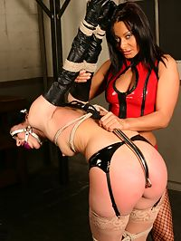 Lezdome strappado slave girl electro-gasm : Sandra finds her husbands phone on Ariels cell phone and interrogates her. Do you shake that big ass in front of his cock? Mistress Sandra wants to know everything. Ariel, tied in a strict strappado gets all the rough treatment canning, the pussy hook, shes made to prance around like a pony with the hook inside her, fucking herself with it. Every tender part is clamped her pussy and nipples, then forces her to cum with the magic wand. She then makes her eat her ass hole , bend her over doggy onto the horse and attaches electrodes to her ass.