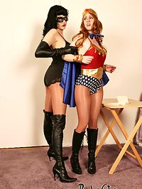 Superheroines electro-orgasms : Super Girl vs. Super Bitch! Super Girl plays right into Super Bitches trap, shes tied up to a machine that will turn up the electricity everytime she has another orgasm from the vibrator. Super Bitch takes Super Girls identity so she can retire. Only instead of zapping Super Girls strength, it makes her even more evil and stronger than Super Bitch. Super Girl battles it out with Super Bitch and ties her and hooks her up to the machine, except this time she fucks her helpless evil victum with the strapon!