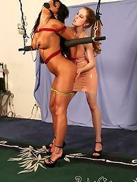 Lezdome bondage and flogging : Mariah Milano has never been tied up before, shes a porn star and loves to suck and fuck cock, but what about girls? Ive got a strapon cock and I could fuck her all night. I start by tying her in upright position teetering on stilleto heels and flogging her breasts, spank her ass hard and gag her with a penis gag. Next, I tie her up doggie style to take my large 8 cock , and vibe on her clit. After letting her cum, its my turn. I sit on her face and tell her lick my pussy while I vibe my clit , then eat my ass.