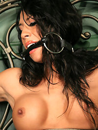 Hot Latina struggles and cums! : This week Kayla Carrera makes her debut on Perfect Slave. Kayla is a tall Latina with impeccable looks and an amazing body on her. Taking advantage of her beauty, we asked Kayla to pose for us in her black outfit and she slowly revealed her wonderful body to us. Then, with her breasts exposed, Kayla was tied and fitted with a head harness and we watched intently as she struggled on the bed. Next, we bit gagged our beautiful slave and tied her arms to the iron headboard and spread her legs. After we got the vibe harnessed against her clit, we watched as Kayla had no choice but to struggle and cum as she begged for release.