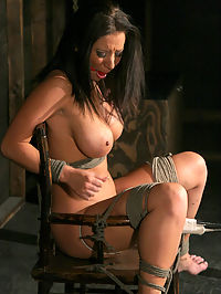 Huge tits, tied and cumming! : The beautiful and busty brunette, Jayden Jaymes is tied tightly to a wooden chair in the dark dungeon. Rigged between her mouth watering legs is a magic wand which we turn on to full power. As the vibrator whirs away at her snatch, Jayden begins thrashing madly as she succumbs to the wand and cums like crazy.